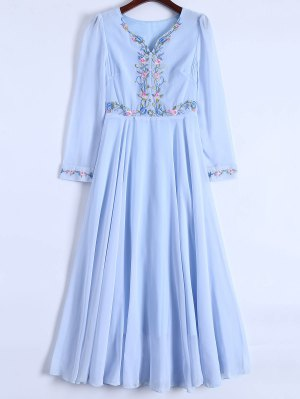 Floral Embroidered Long Sleeve Chiffon Dress - Light Blue