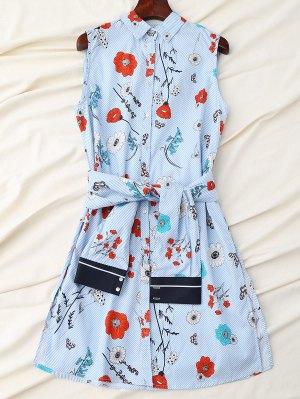Floral Striped Shirt Dress With Sleeve Belt - Blue