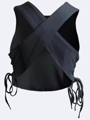 Criss Cross Lace Up Tank Top - Black