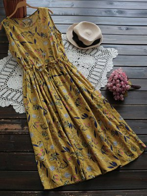 Flower Drawstring Waist Sleeveless Linen Dress - Ginger
