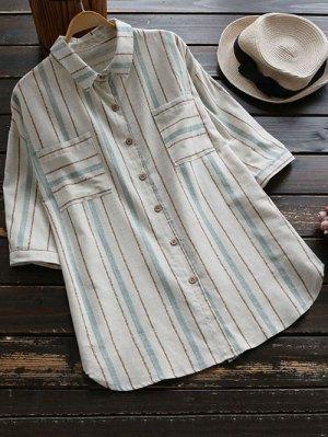 Oversized Linen Stripe Shirt With Pockets - Light Blue