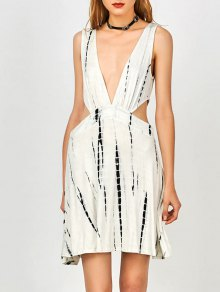 Tie Dye Plunge Open Side Tank Dress - White M