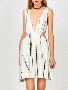 Tie Dye Plunge Open Side Tank Dress - White S