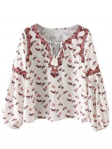 Buy String Tiny Floral Blouse - WHITE M
