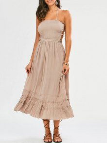 Halter Smocked Open Back Maxi Holiday Dress