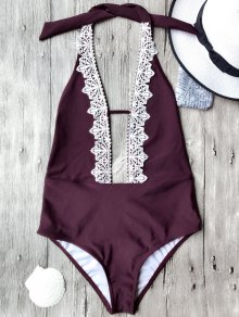 Plunging Neck Backless One Piece Swimsuit - Burgundy