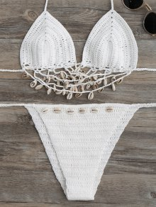 Embellished Crochet String Bikini Set