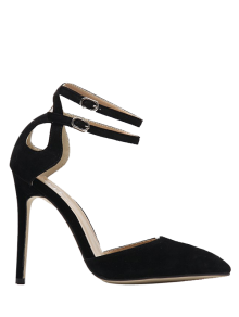 Double Buckle Strap Two Piece Pumps - Black