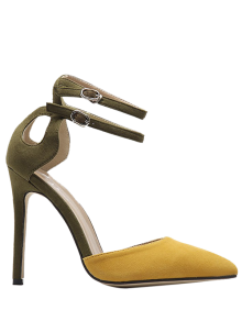 Double Buckle Strap Two Piece Pumps - Ginger 37