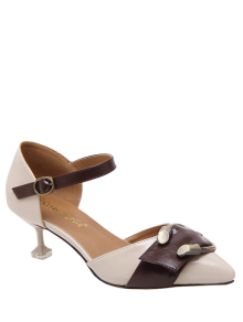 Two Piece Buckle Strap Strange Style Pumps - Apricot