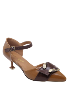 Two Piece Buckle Strap Strange Style Pumps - Brown 38