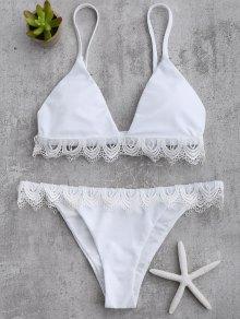 Lace Trim Cami Thong Bikini Set - White