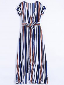 Stripe High Slit Surplice Maxi Dress - Blue