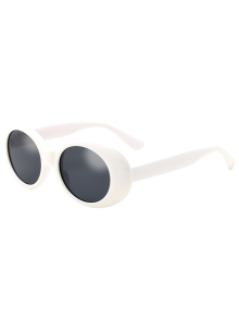 Oval Retro Anti UV Windbreak Sunglasses - White