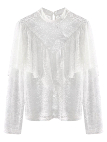 Layered See-Through Lace Blouse