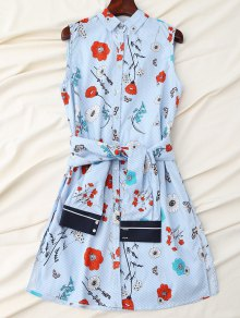 Floral Striped Shirt Dress With Sleeve Belt - Blue