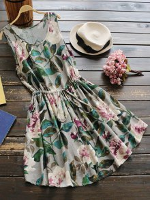 Sleeveless Drawstring Waist Floral Linen Dress