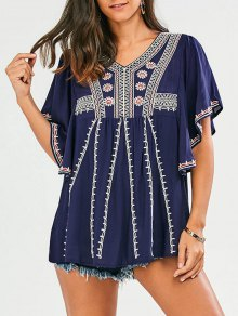 Embroidered Batwing Sleeve Tunic Top