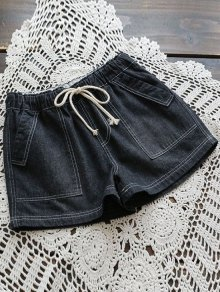 Drawstring Denim Shorts With Pockets