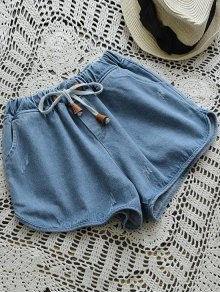 Elástico Drawstring Cintura Denim Hot Shorts - Denim Blue