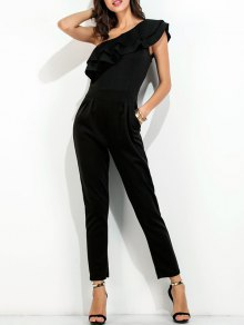 Ruffle One Shoulder Jumpsuit - Black