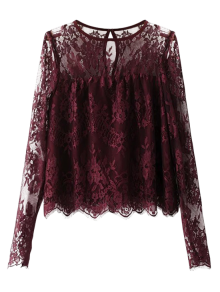 Scalloped See-Through Lace Blouse - Purplish Red