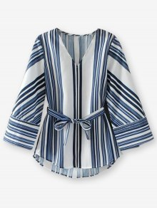 Striped Belted Blouse
