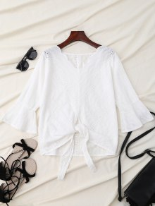 V Neck Front Knot Flare Sleeve Blouse