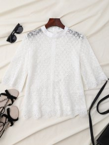 Sheer Scalloped Lace Blouse