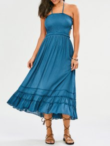 Halter Smocked Open Back Maxi Holiday Dress