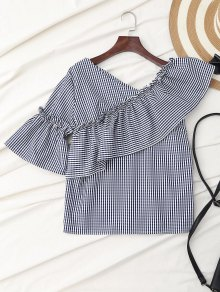 Plaid Ruffle Asymmetric Flare Sleeve Top