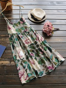 Slip Floral Linen Holiday Dress - Vert