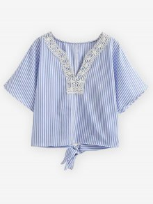 Striped Lace Trim Blouse - Light Blue S