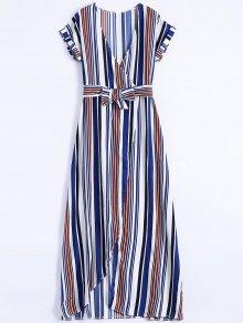 Stripe High Slit Surplice Maxi Dress - Blue Xl