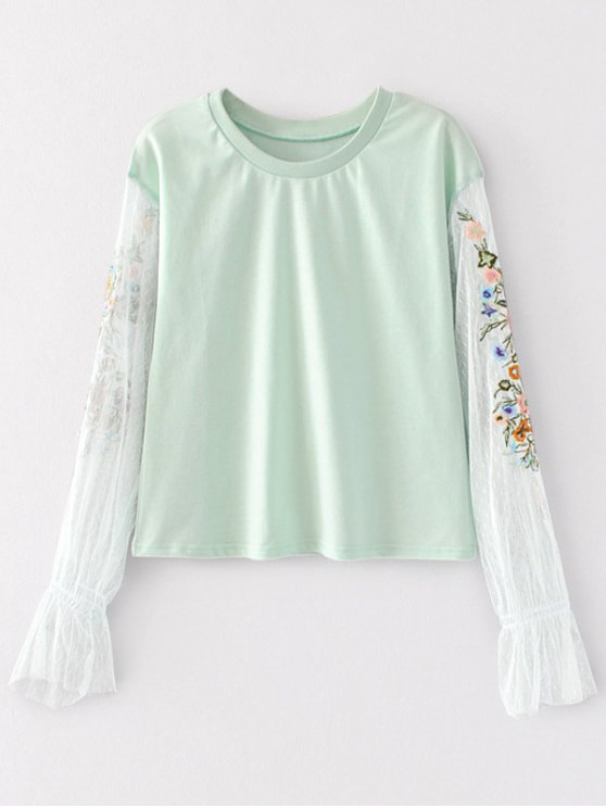 Tablero de malla con bordados florales - Verde claro S