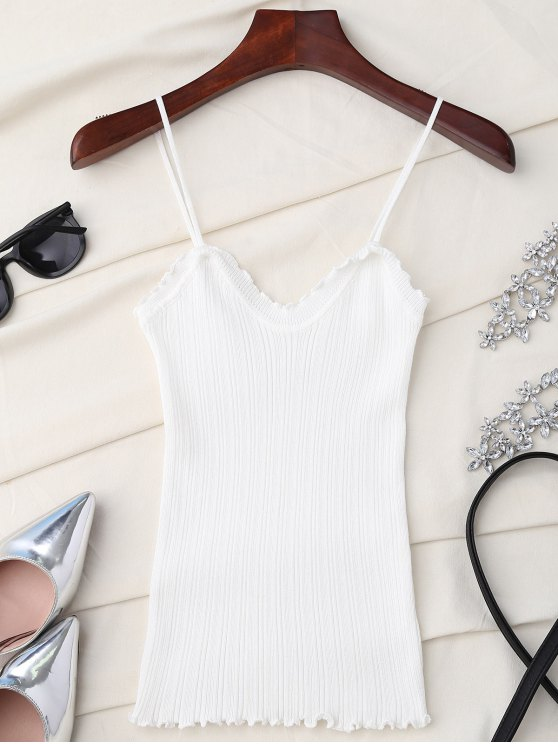 Camiseta sin mangas con volantes - Blanco Única Talla