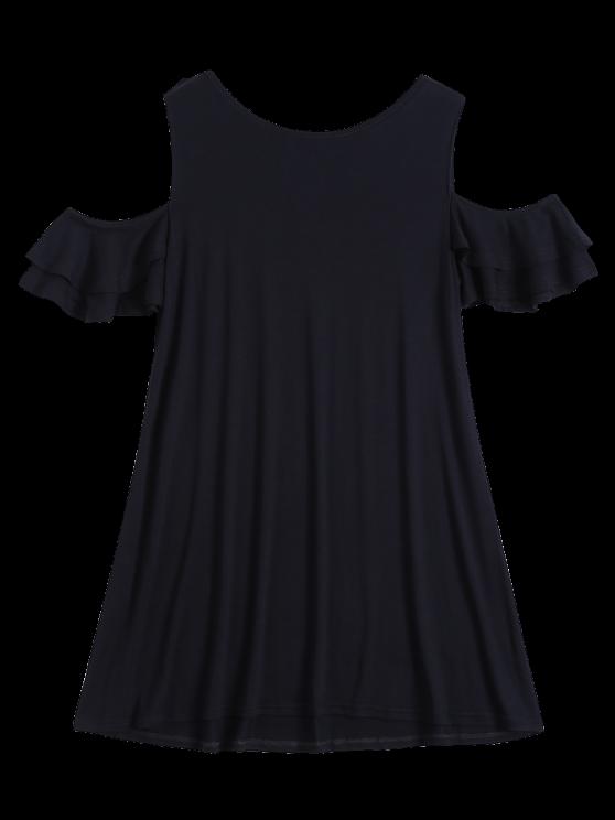 Vestido de Camiseta Fruncido Fuera del Hombro - Negro S