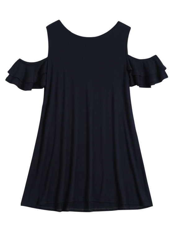 outfit Cold Shoulder Ruffle T-Shirt Dress - BLACK M