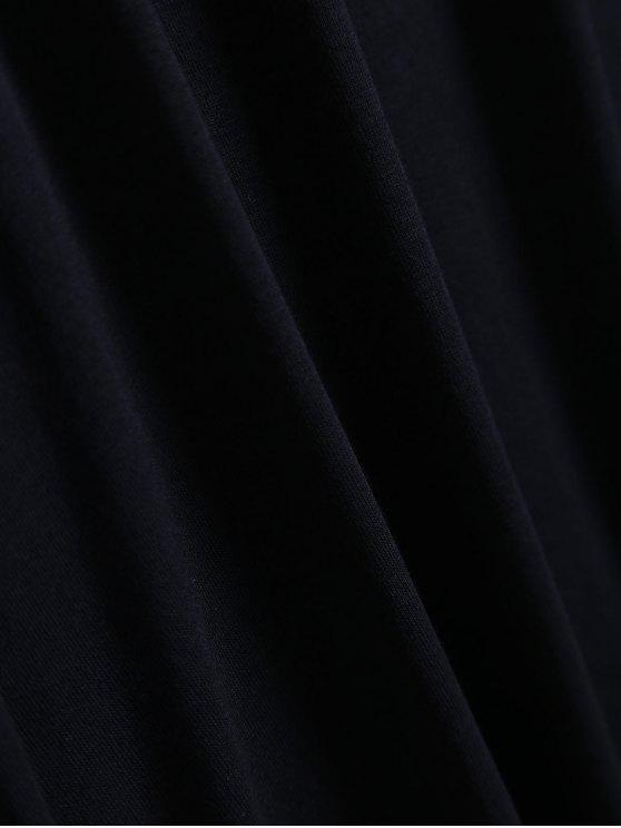 Cold Shoulder Ruffle T-Shirt Dress - BLACK M Mobile