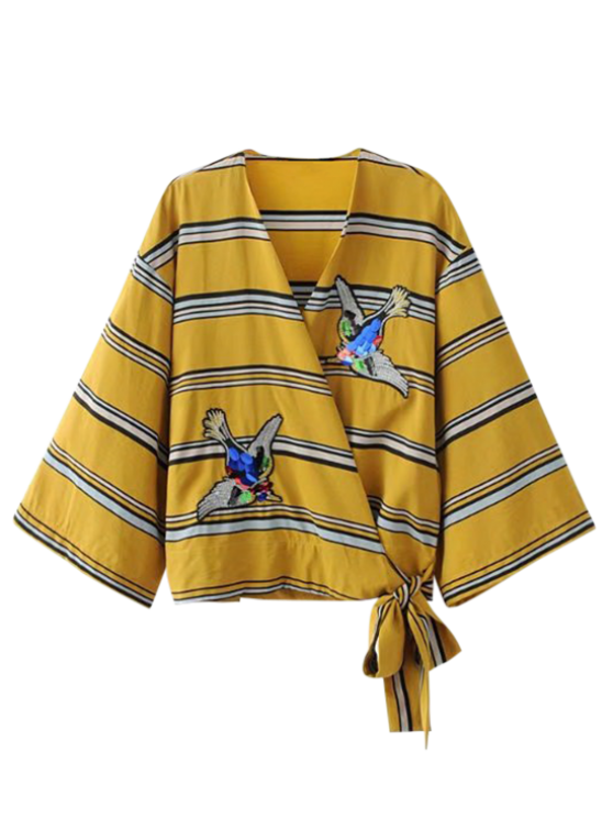 fancy Patched Stripes Wrap Blouse - YELLOW S