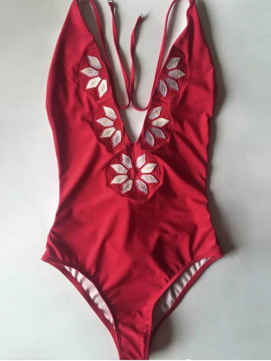 Embroidered Cami One-Piece Swimwear - RED M Mobile