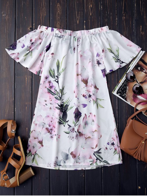 Off The Shoulder Flower Vintage Dress - WHITE S Mobile