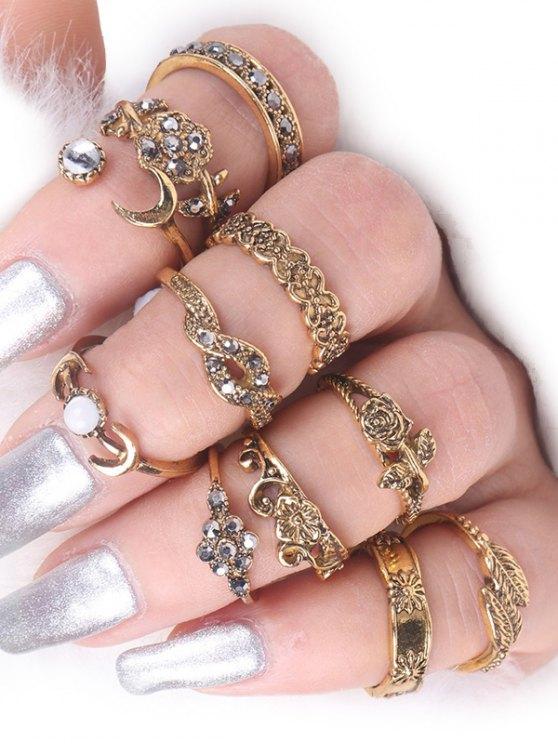 lady Rose Flower Leaf Moon Alloy Ring Set - GOLDEN