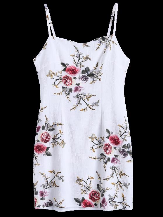 Slip Floral Slinky Summer Dress - WHITE S Mobile