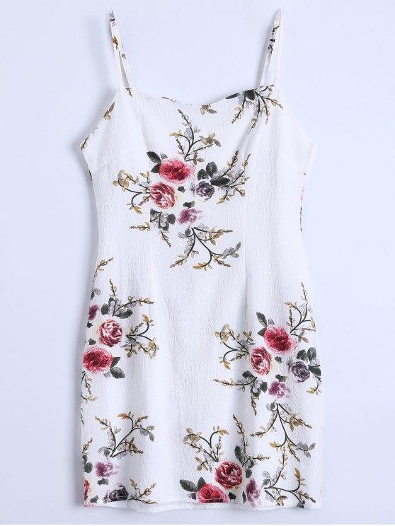 unique Slip Floral Slinky Summer Dress - WHITE M