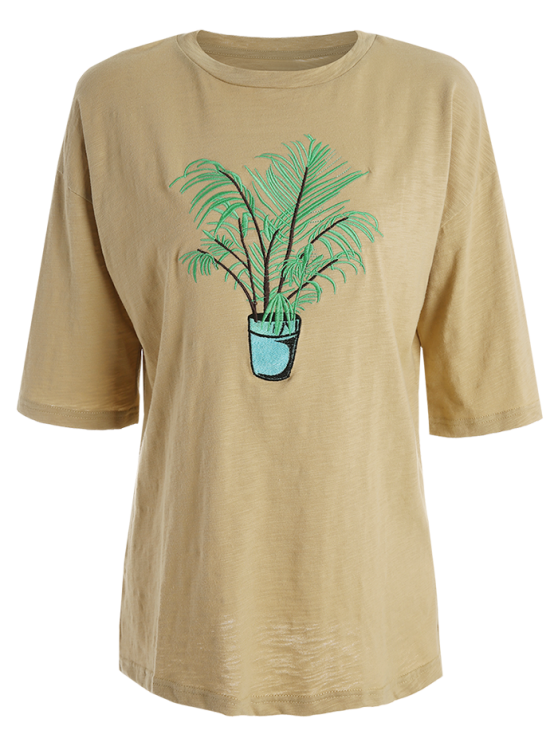 Oversized Crew Neck Plant Embroidered T-Shirt - YELLOW ONE SIZE(FIT SIZE XS TO M) Mobile