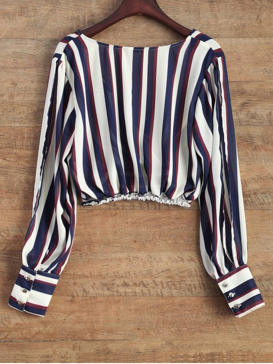 Striped Slit Sleeve Cropped Surplice Blouse - STRIPE XL Mobile