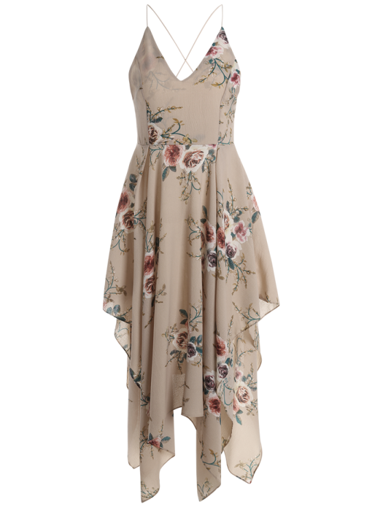Floral Maxi Handkerchief Casual Slip Dress - APRICOT S Mobile