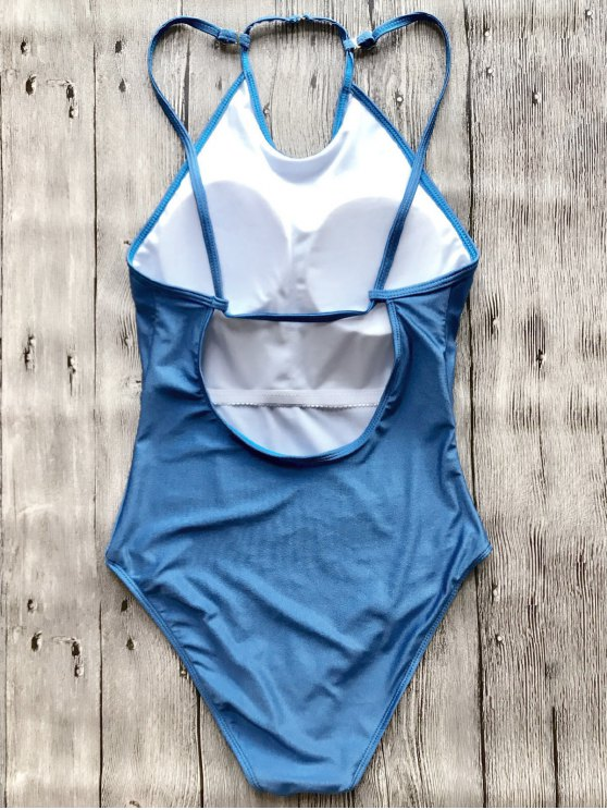 Open Back High Neck One Piece Swimsuit - BLUE M Mobile