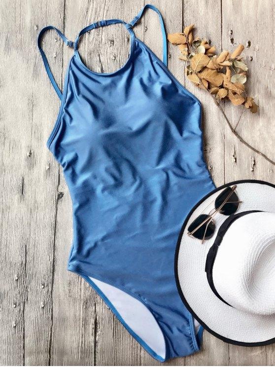sale Open Back High Neck One Piece Swimsuit - BLUE S